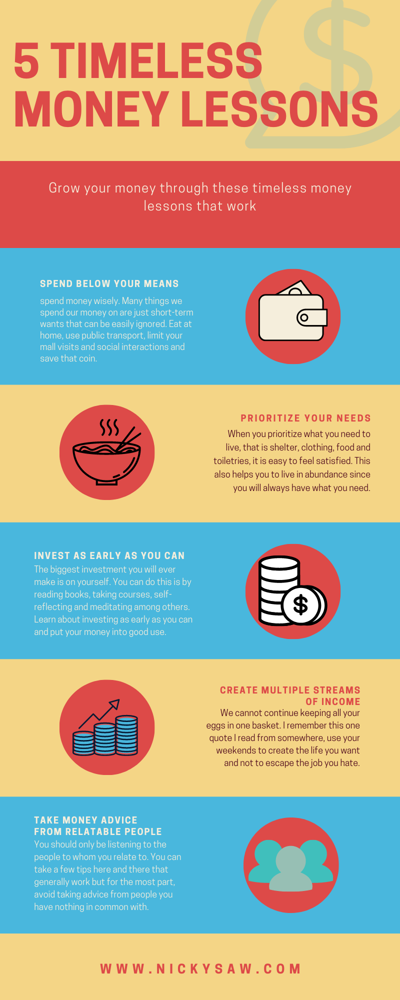 lessons to grow your money infographic